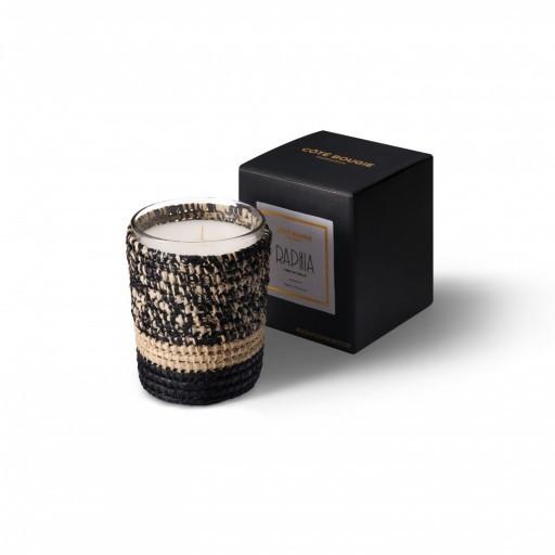 bougie parfumée Mogador noir en raphia taille Small avec sa boîte
