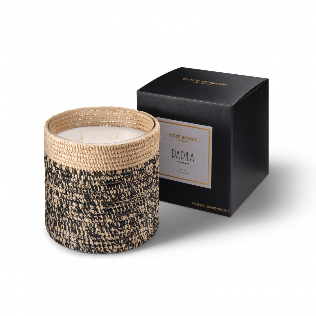 Rita scented candle from the raffia collection Large size with packaging box