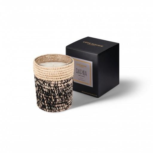bougie parfumée Rita en raphia taille Small avec sa boîte