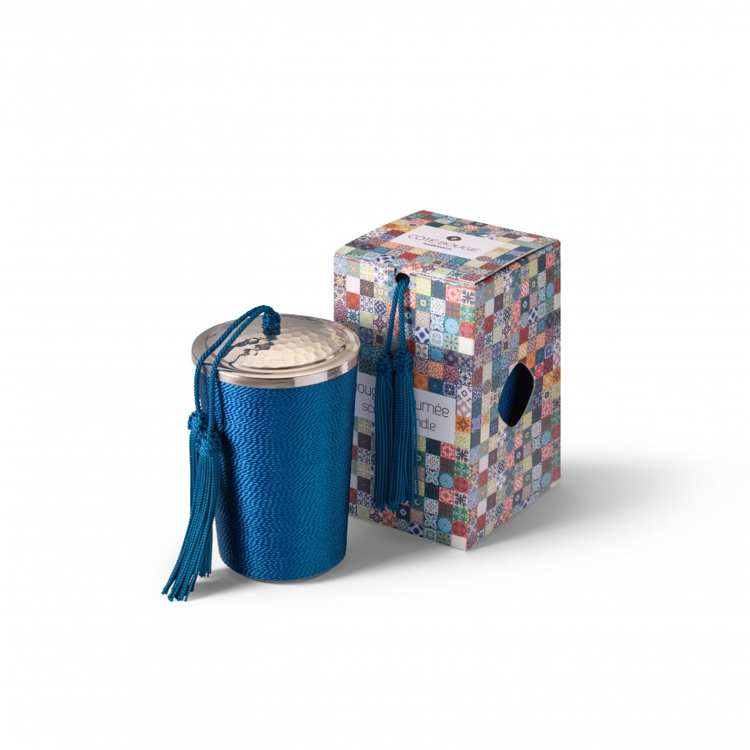 bougie avec couvercle Bleu Paon de la collection Sabra maillechort