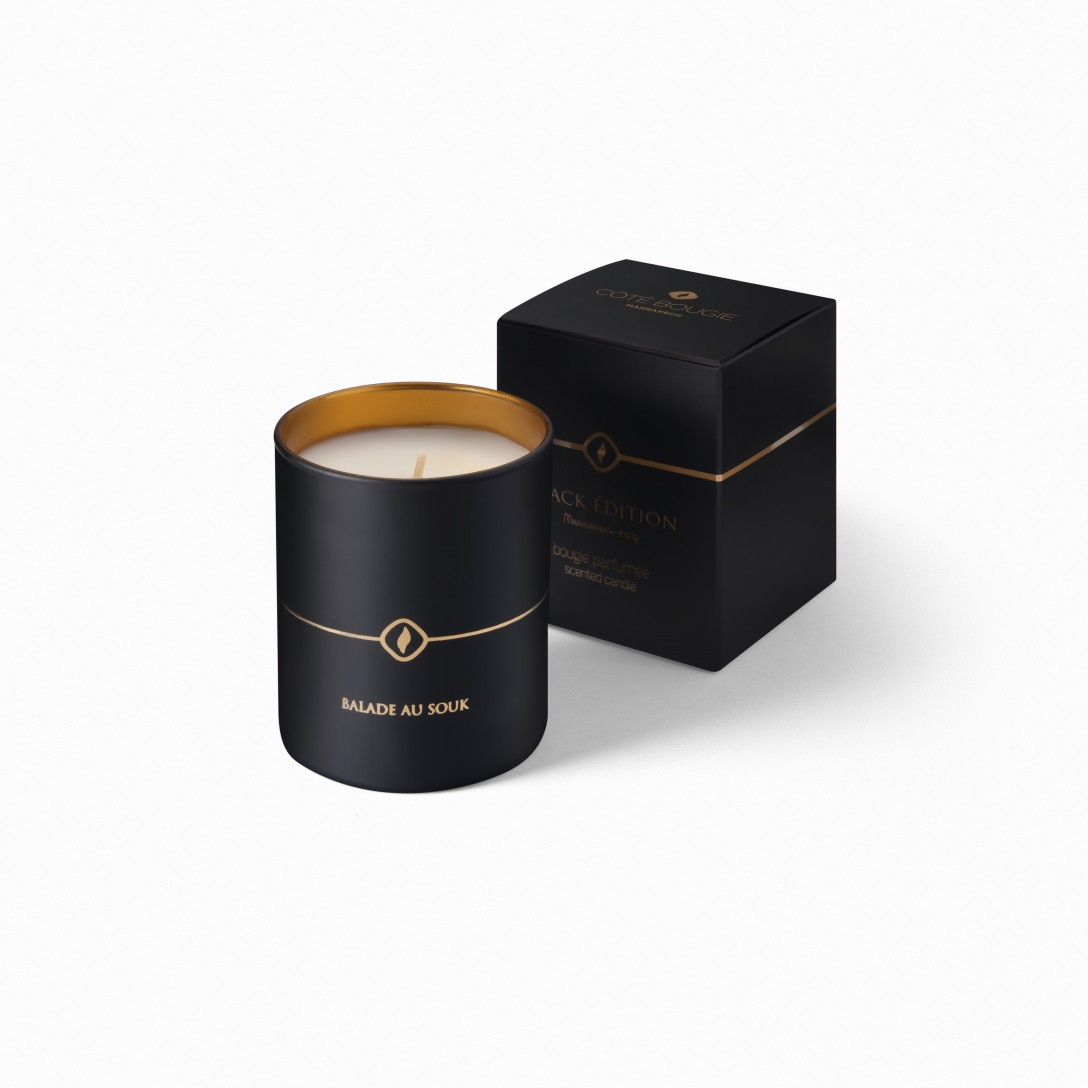 luxury scented candle Balade au souk from the black candles collection