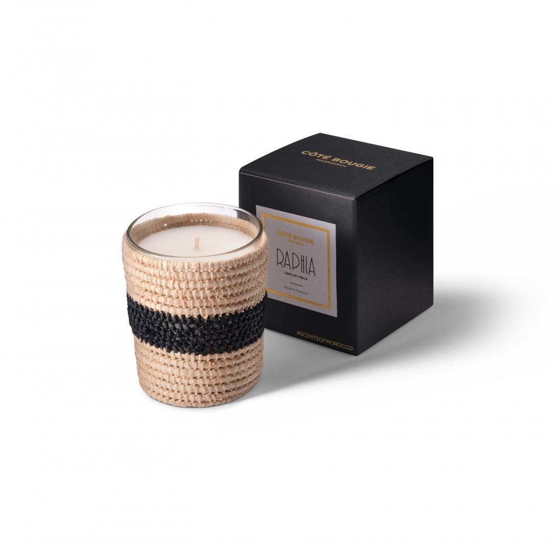 bougie parfumée Zayna de la collection raphia taille Small avec boîte noir