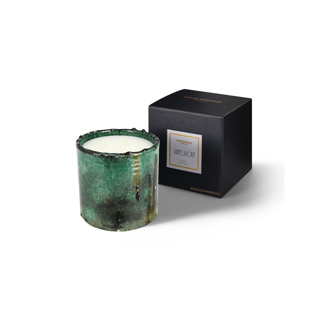 scented candle from the Tamegrout collection in pottery candle holder Medium size with black packaging box