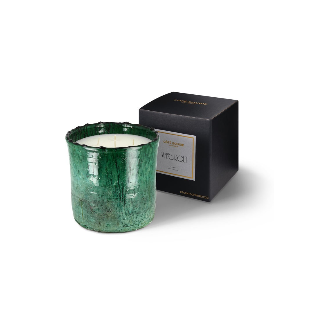 scented candle from the Tamegrout collection in pottery candle holder Large size with black packaging box
