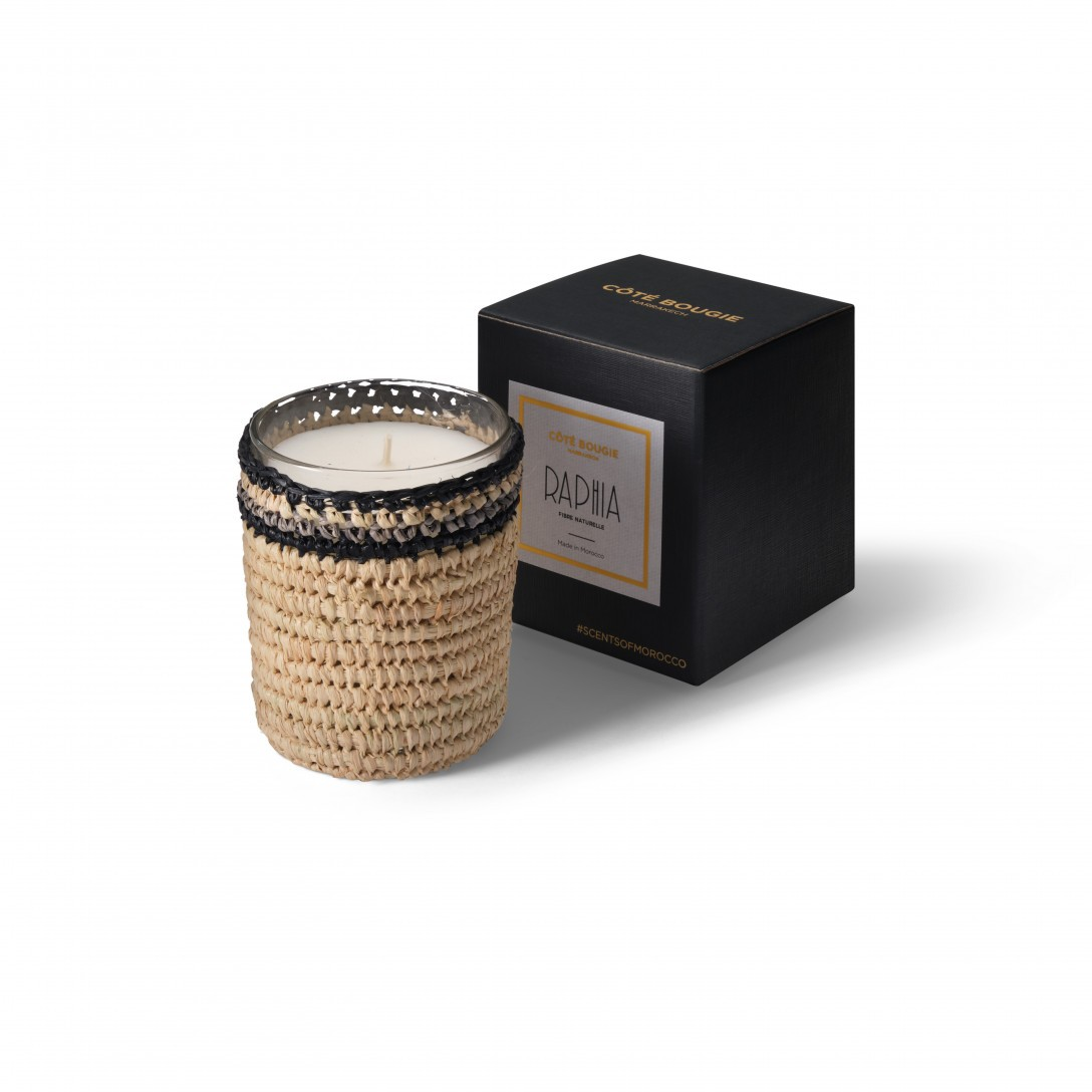 Janna scented candle from the raffia collection Small size with packaging box