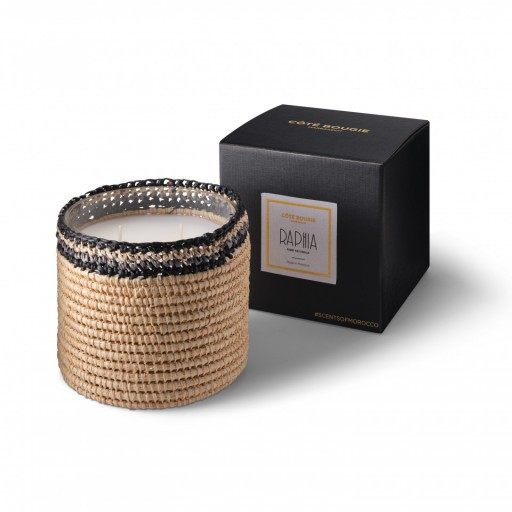 Janna scented candle from the raffia collection Medium size with packaging box