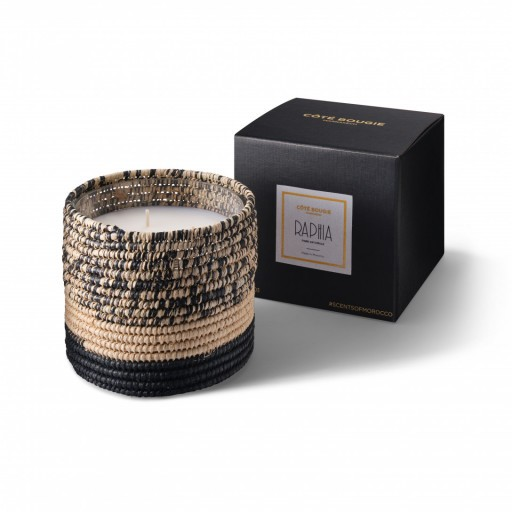 Mogador scented candle from the raffia collection Medium size with packaging box