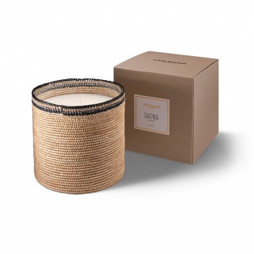 Janna big scented candle from the raffia collection XLarge size with packaging box