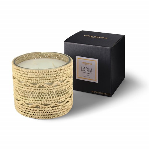 Dina scented candle from the raffia collection Medium size with packaging box