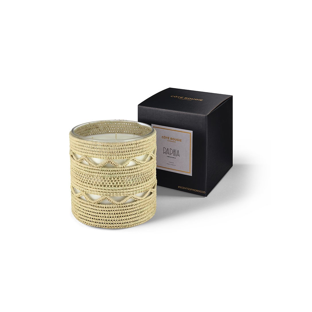 Dina scented candle from the raffia collection Large size with packaging box