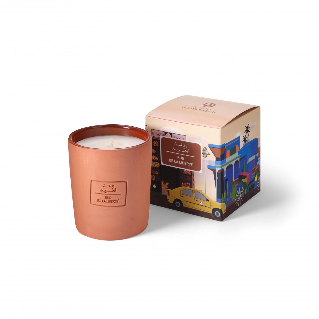 terracotta candles Rue de la liberté from the 40000 marrakech collection with packaging box