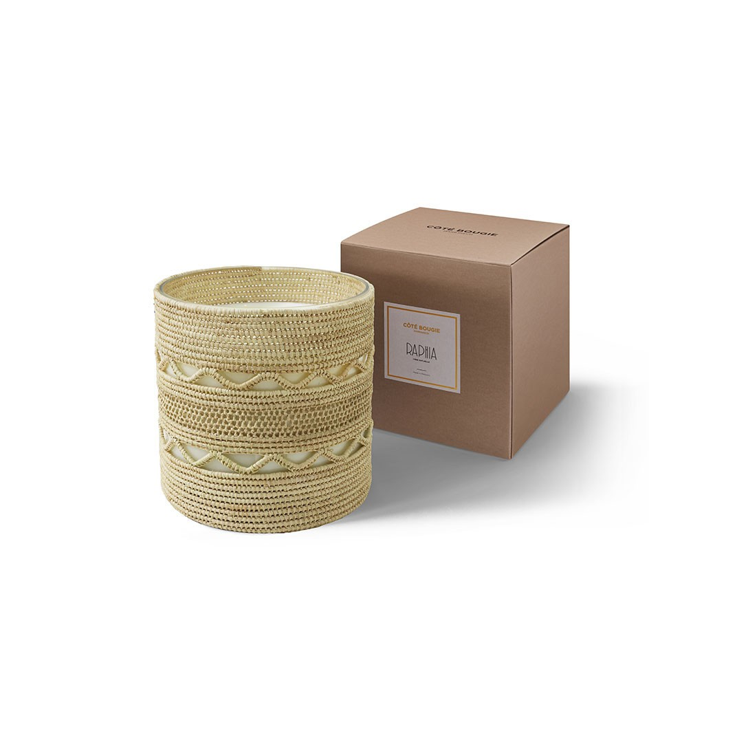 Dina scented candle from the raffia collection XLarge size with packaging box