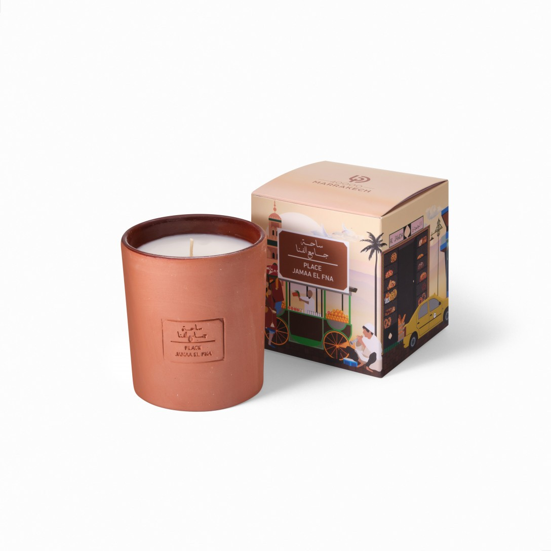 terracotta candles Jemma El Fna from the 40000 marrakech collection with packaging box