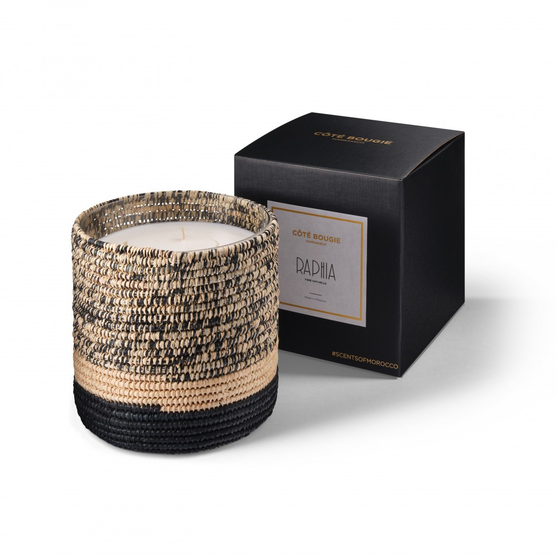 Mogador scented candle from the raffia collection Large size with packaging box