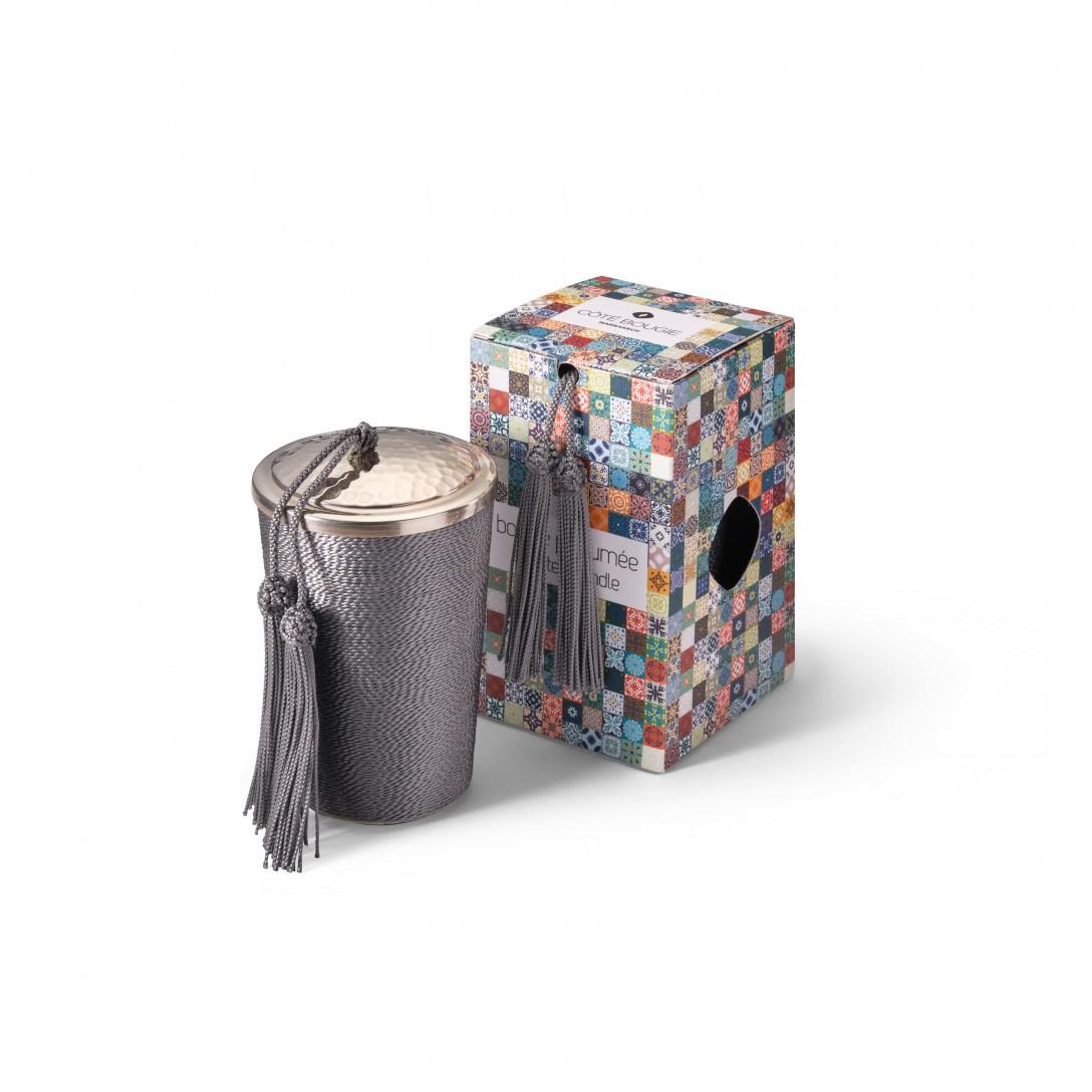 bougie avec couvercle Gris de la collection Sabra maillechort