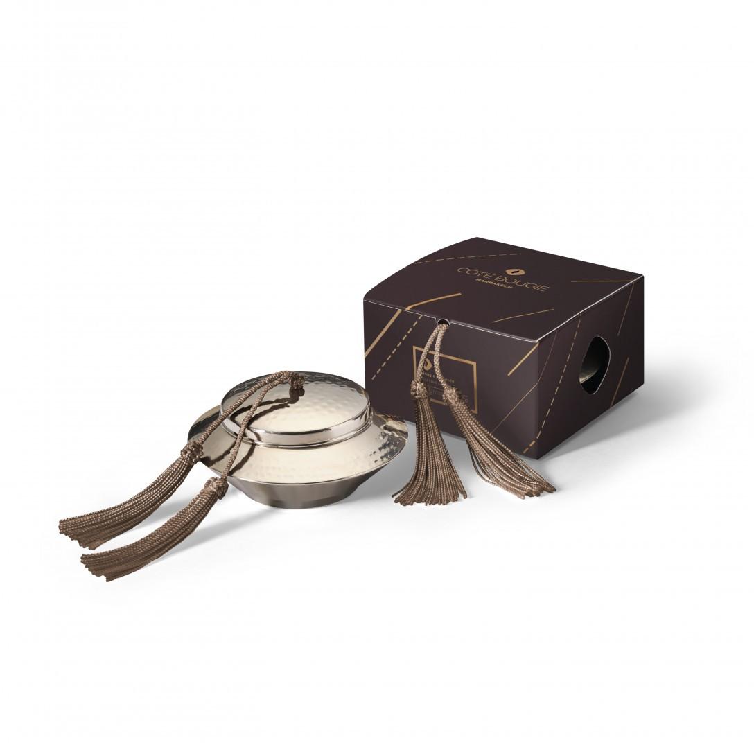 bougie naturelle Taupe avec couvercle de la collection Toupie maillechort