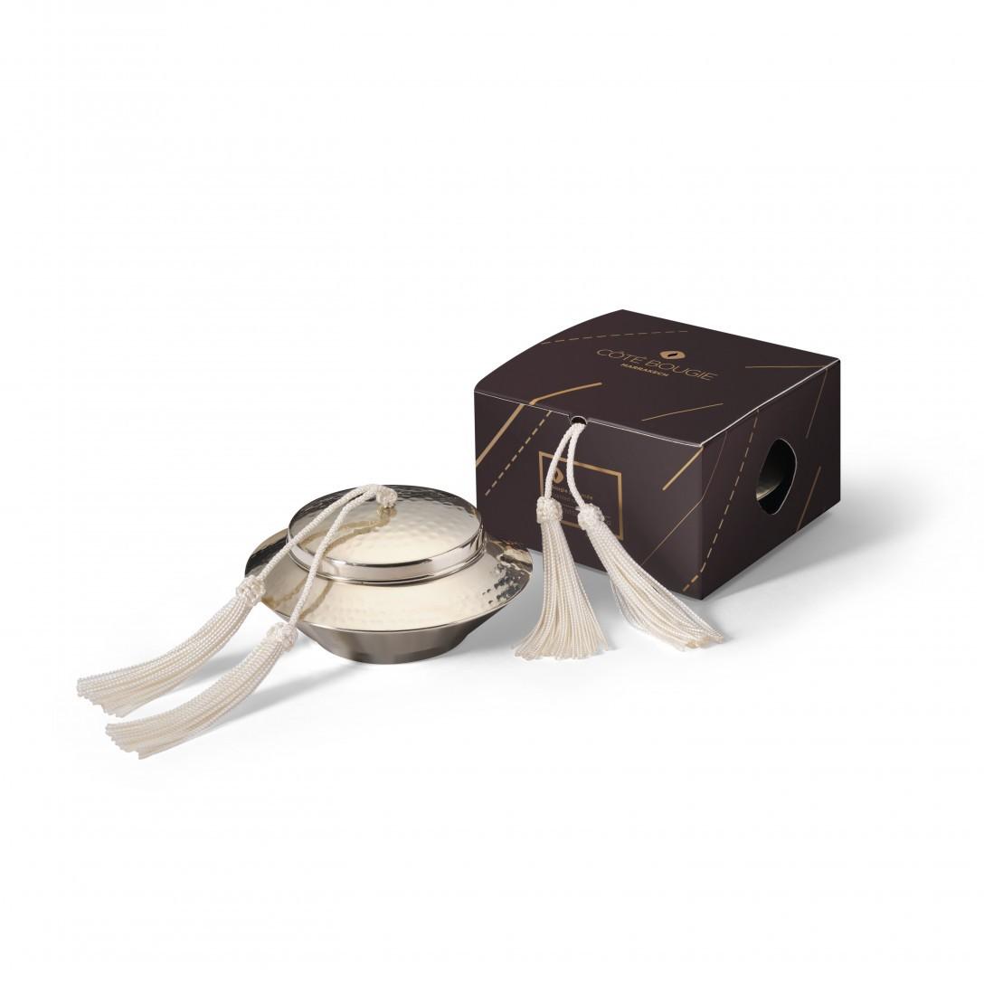 bougie naturelle Blanc avec couvercle de la collection Toupie maillechort