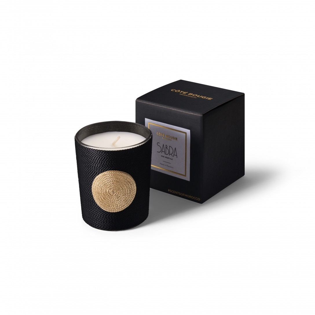 Dana scented candle natural from the Sabra collection Small size with black packaging box