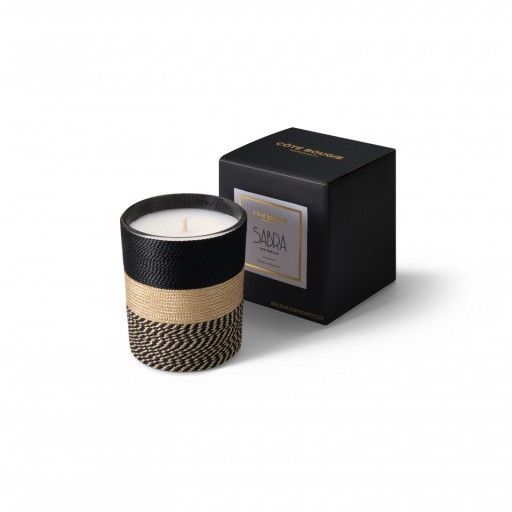 Nelia scented candle natural from the Sabra collection Small size with black packaging box