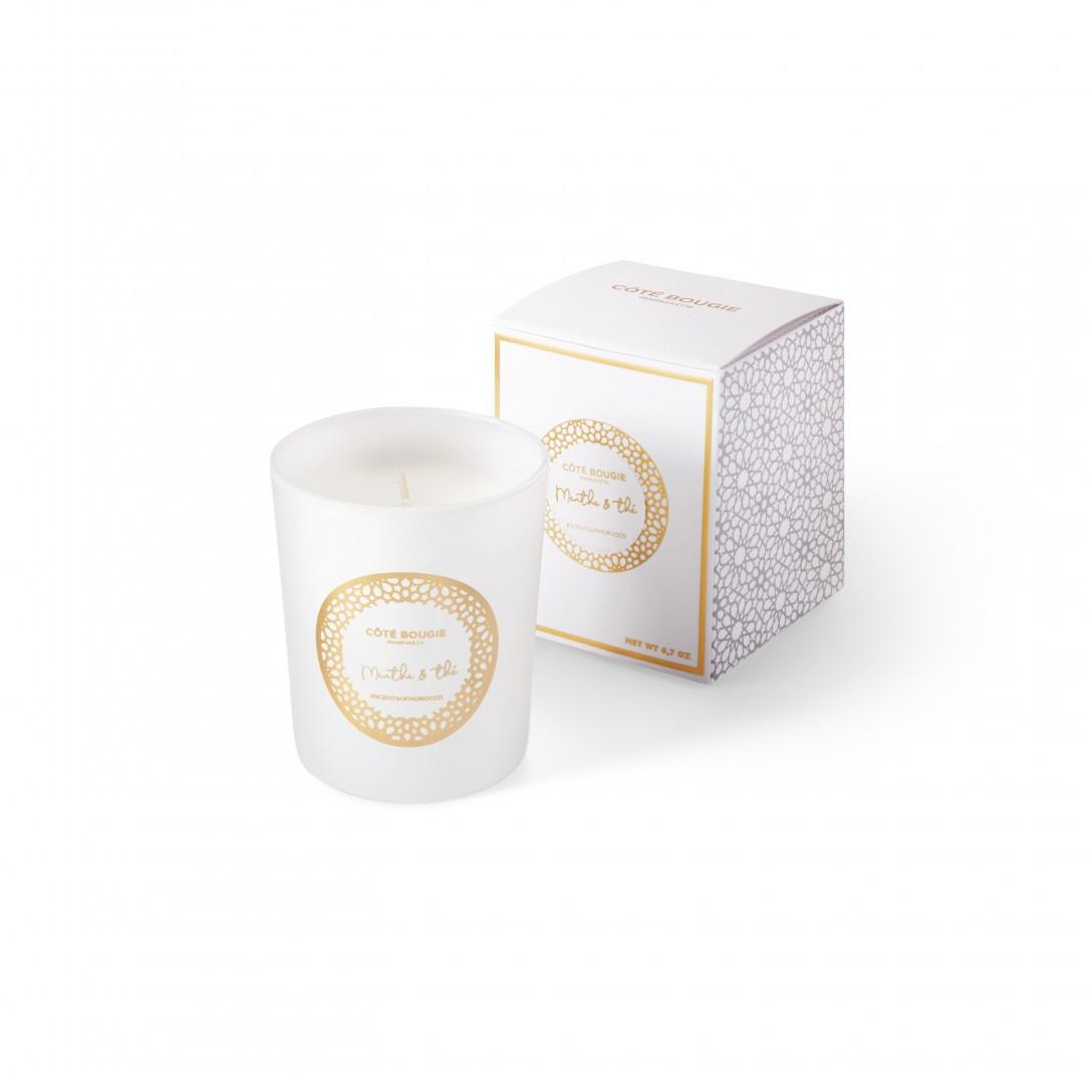Bougie haut de gamme avec senteur Menthe & thé de la collection de bougies blanches Scents of Morocco
