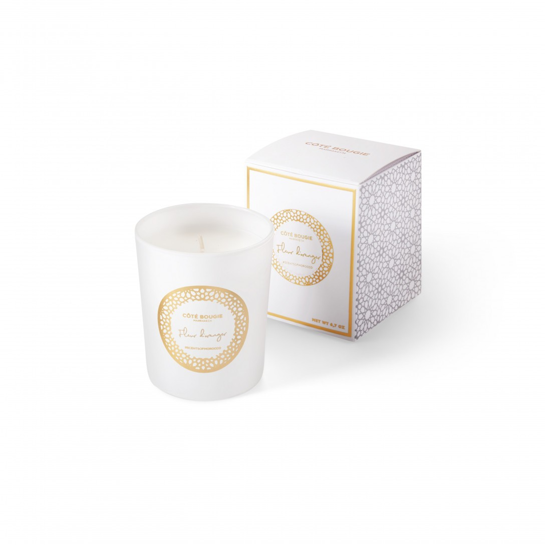 luxury candles with Orange Blossom scent from the Scents of Morocco white candles collection